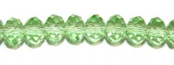 72pcs x 8mm Light green faceted glass rondelle beads -- S.G06 -- 3005626